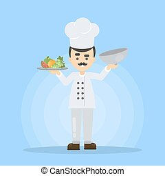 Chef with food.