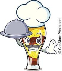Chef with food mangonada fruit mascot cartoon
