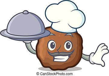 Chef with food meatball mascot cartoon style
