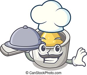 Chef with food metal measuring spoons isolated on mascot