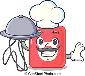 Chef with food mp3 player in a funny cartoon