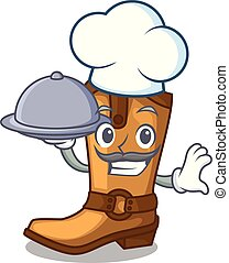 Chef with food old cowboy boots in shape character