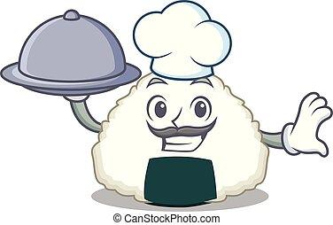 Chef with food Onigiri mascot cartoon style