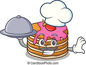 Chef with food pancake with strawberry mascot cartoon