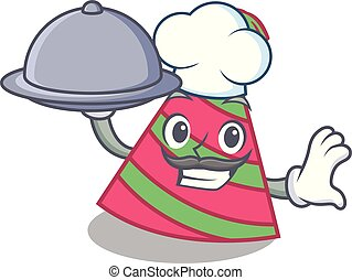 Chef with food party hat mascot cartoon vector illustration