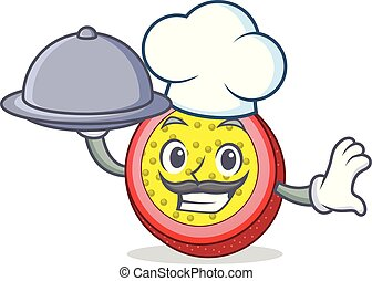 Chef with food passion fruit mascot cartoon
