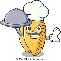 Chef with food pastel mascot cartoon style vector ...