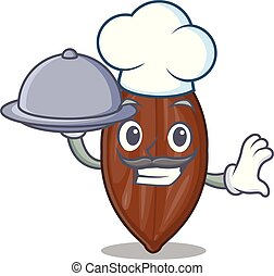 Chef with food pecan nuts pile on plate cartoon