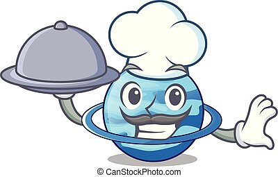 Chef with food planet uranus in the cartoon form vector...