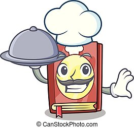 Chef with food recipe book in the cartoon shape