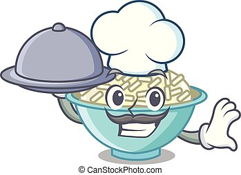 Chef with food rice bowl mascot cartoon