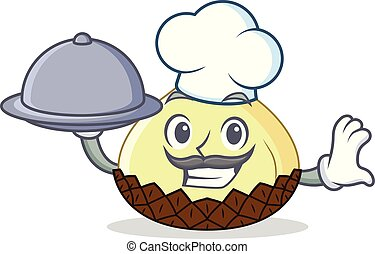 Chef with food snake fruit mascot cartoon