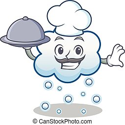 Chef with food snow cloud character cartoon
