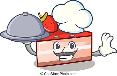 Chef with food strawberry cake mascot cartoon