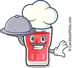 Chef with food strawberry mojito mascot cartoon