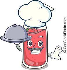 Chef with food strawberry smoothie mascot cartoon