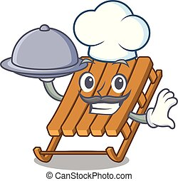 Chef with food toy ice sled in cartoon shape