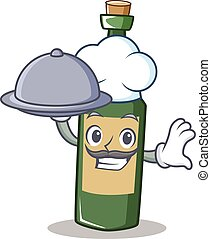 Chef with food wine bottle character cartoon