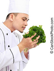 chef with fresh ingredient