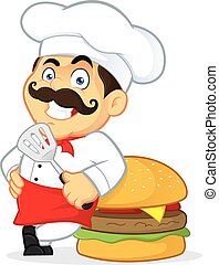 Chef with Giant Burger - Clipart Picture of a Chef Cartoon...