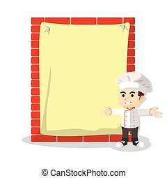 Chef with giant paper