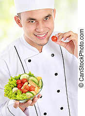 chef with healthy food