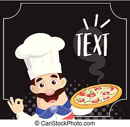 Chef with Hot Pizza Vector Illustration