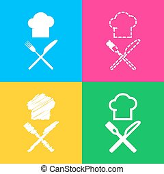 Chef with knife and fork sign. Four styles of icon on four color squares.
