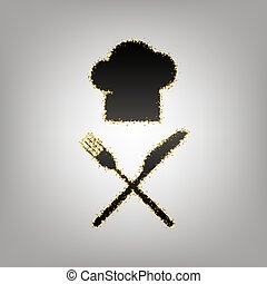 Chef with knife and fork sign. Vector. Blackish icon with...