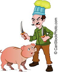 Chef with Knives to Cut Up a Pig, illustration - Chef with...