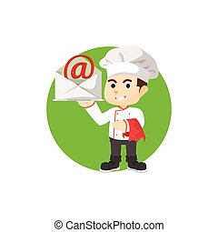 Chef with mail tray