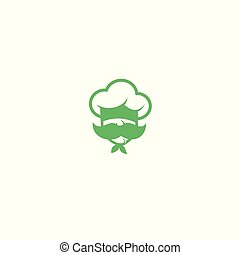chef with mustache logo vector illustration