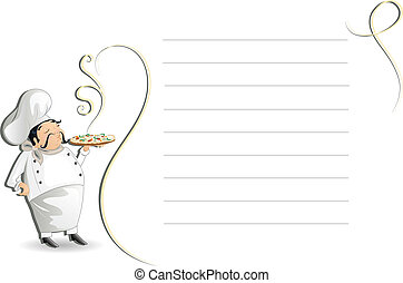 Chef with writing pad, menu, cmyk