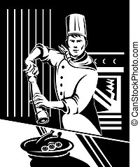 Chef with pepper shaker - Illustration of a chef with a ...