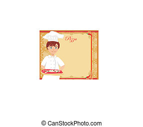 chef with pizza - Abstract card with space for menu