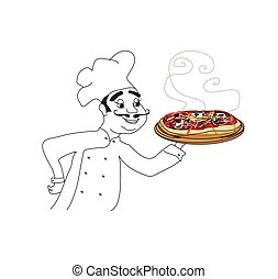 Chef with pizza - doodle Illustration