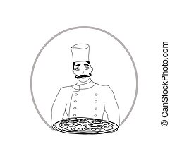 chef with pizza - icon, hand-drawing illustration