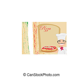 chef with pizza - Menu Template