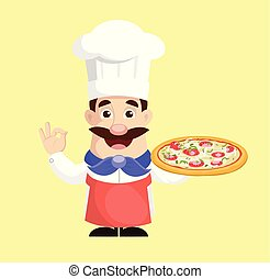 Chef with Pizza Vector Illustration
