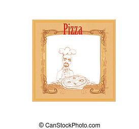 chef with pizza , vintage card