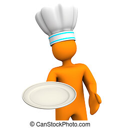 Chef With Plate 2 - Orange cartoon character with plate....