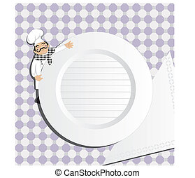 Chef with plate, notepad, menu, order cmyk