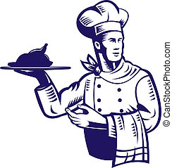 Chef with plate of food and towel - Illustration of a chef...
