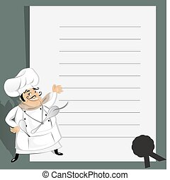Chef with recipe - Vector illustration of a cute chef with ...