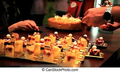 small dessert - chef with small dessert
