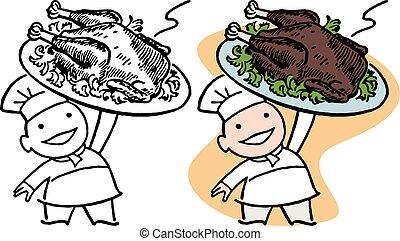 Chef with Turkey