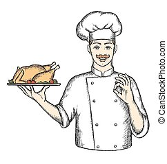 Chef with Turkey.