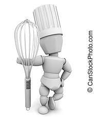 Chef with whisk - 3D render of a chef with a whisk