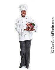 chef, woman., africano