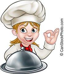Chef Woman Cartoon Character Mascot